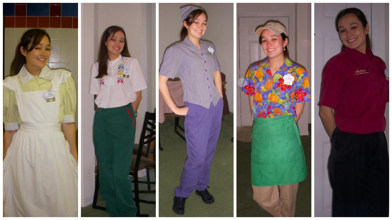 Algumas das roupas que usei nas horas extras. Cada hora extra você precisa ir no wardrobe buscar sua costume.