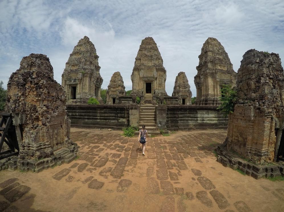 Em um dos templos do complexo de Angkor em Siem Reap no Camboja.