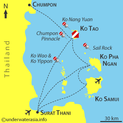 E aqui as ilhas de pertinho. Dá pra entender melhor onde é a outra opção de chegada, por Surat Thani.