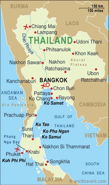 Observe que do lado esquerdo estão as praias do Mar de Andaman e do lado direito o Golfo da Tailândia, onde fomos.
